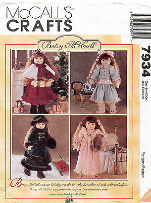 """McCall's Betsy McCall Doll Clothes Pattern 7934 18"""" UNCUT"""