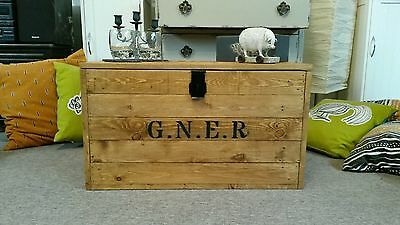 Wooden Chest Trunk BLanket Box Coffee Table Vintage Luggage storage G.N.E.R