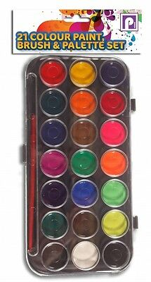 Childrens 21 Colour Paint, Brush & Palette Set (GREAT CHRISTMAS STOCKING FILLER)
