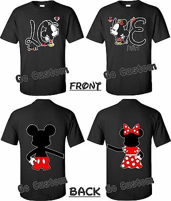 LOVE Front & Back Mickey/Minnie Mouse Cute Matching Couples T-Shirts