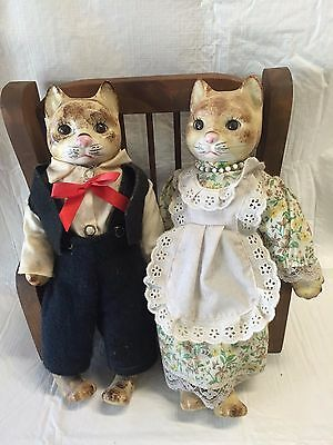 Vintage Pair Of Cat Dolls Porcelain Heads Hands Feet & Cloth Bodies w Bench