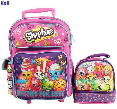 """Brand New Shopkins 16"""" GIRLS KIDS LARGE ROLLING BACKPACK Plus LUNCH BAG 2PC SETS"""
