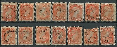 Canada #41 Used B.c. Town Cancel Lot, 14 Stamps, Fully Dated