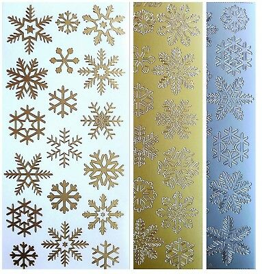 SNOWFLAKES Peel Off Stickers Frozen Winter Christmas Card Making Gold or Silver