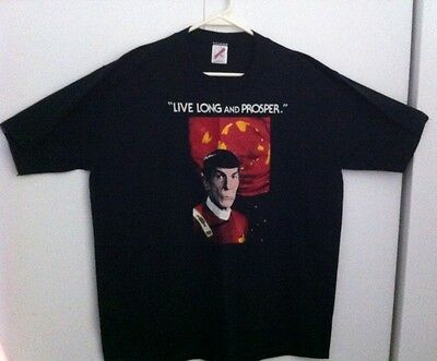 "Spock Star Trek XL Movie Tee Shirt ""Live Long and Prosper"" Nimoy TOS"