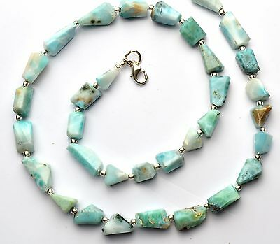 Natural Gemstone Larimar Rare Faceted Nugget Beads Necklace 20 Inch
