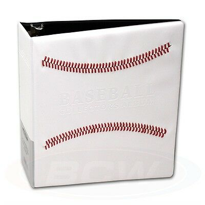Baseball Trading Card Collectors Album & Page sleeves, White & Red Stitch Design