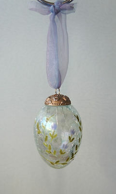 Crackled Glass Ornament By Russ Berrie - Purple Hanging Egg Shape - New/ Boxed