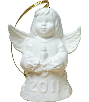 Goebel Angel Bell 2011 White Bisque NIB Angel Holding Candle 106304 NEW BOX