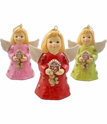 Goebel 2013 Angel Bell Set of 3 NIB Holding Gingerbread Houses 108300 NEW IN BOX