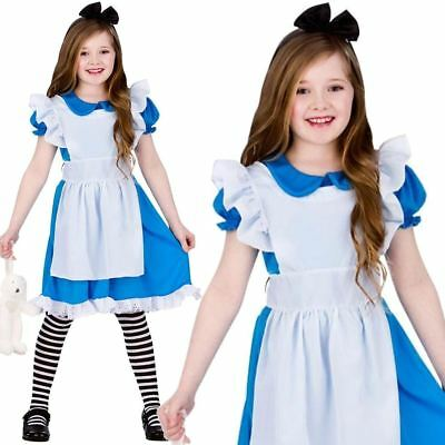 Kids Girls Classic Alice in Wonderland Costume Book Week Day Fancy Dress Outfit