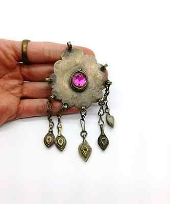 Vintage Turkmen PINK Center Tribal Pendant for DIY Fusion Costuming ATS Jewelry