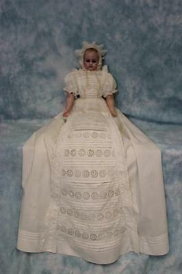"""Antique 20"""" English Poured Wax Doll Stamped Cloth Body, Christening Gown c.1870"""