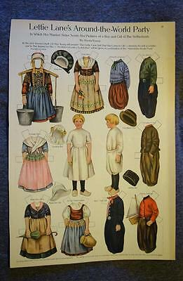 Lettie Lane Paper Doll Around The World Party Netherlands Boy Girl LHJ 1910?