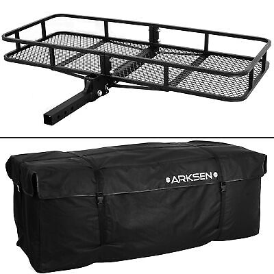 """60"""" x 25"""" Cargo Hauler Carrier Hitch Mounted Receiver Luggage Basket + Bag Combo"""