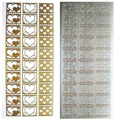 HEART SEALS Peel Off Stickers Wedding Invitations Card Making Gold or Silver