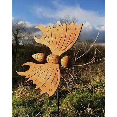 Small Fairtrade Suar Wood Butterfly on Stake - C