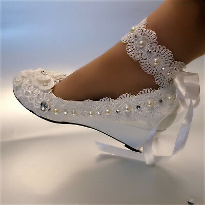 41eb60af324 su.cheny White ivory wedge pearls lace ribbon anklet Wedding Bridal heels  shoes