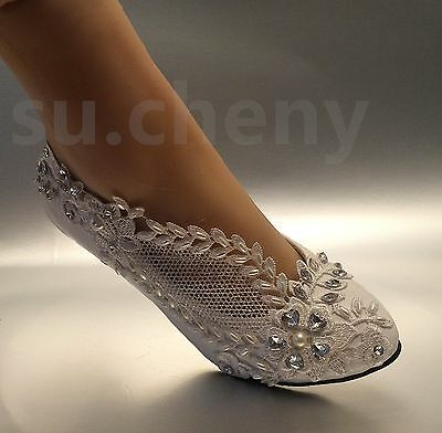 """2"""" low heel Lace white light ivory crystal Wedding shoes Bridal pump size 5-12"""