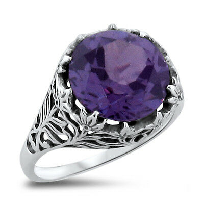 5 Ct COLOR CHANGE LAB ALEXANDRITE ANTIQUE STYLE .925 SILVER RING SIZE 7.75, #320
