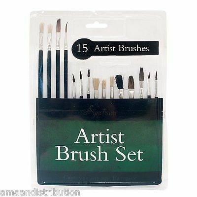 15 X Pointed Artist Brush Set Small/large Art Paint Brushes Thin/thick Detailed