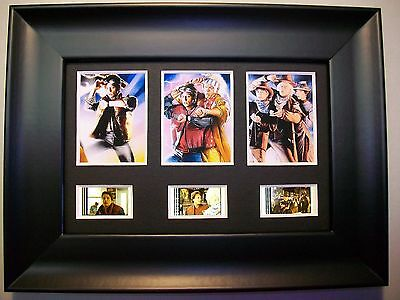 BACK TO THE FUTURE Framed Trio Movie Film Cell Memorabilia - Compliments poster