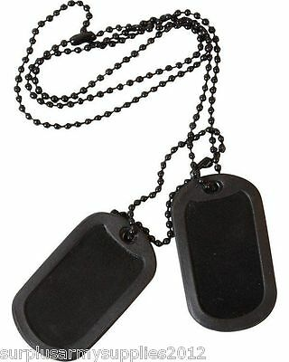 Army Black Dog Tags + Silencers Tag Necklace Boys Soldier Fancy Dress Costume