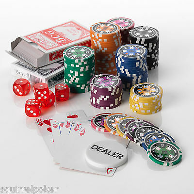 500pcs Poker Chip Set, 15G, 7 colours High Values 25/50/100/500/1000/5000/10000