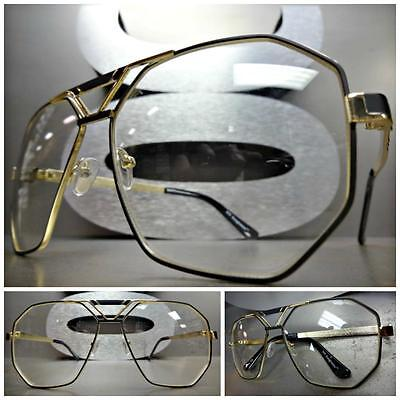 CLASSIC 70's VINTAGE AVIATOR Style Clear Lens EYE GLASSES Large Gold Black Frame