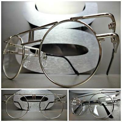 CLASSIC VINTAGE RETRO Style Clear Lens EYE GLASSES Round Silver Fashion Frame