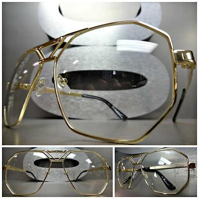 CLASSIC VINTAGE 70's RETRO AVIATOR Style Clear Lens EYE GLASSES Large Gold Frame