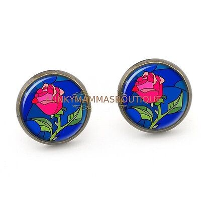 Enchanted Red Rose Glass Dome Silver Stud Earrings Beauty And The Beast Themed