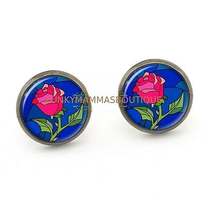 Enchanted Red Rose Glass Dome Stud Earrings Beauty And The Beast Themed