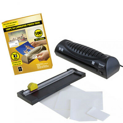 Texet Home Office Personal A4 Hot Laminator + Trimmer + 150 Laminating Pouches