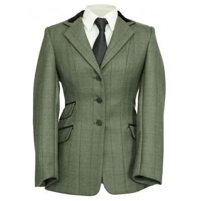 Shires Equestrian Huntingdon Childs Jacket Green Herringbone - Horse Riding
