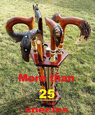 More Than 25 New Models Wooden Cane Walking Stick Cobra Wolf Snake Eagle Horse..