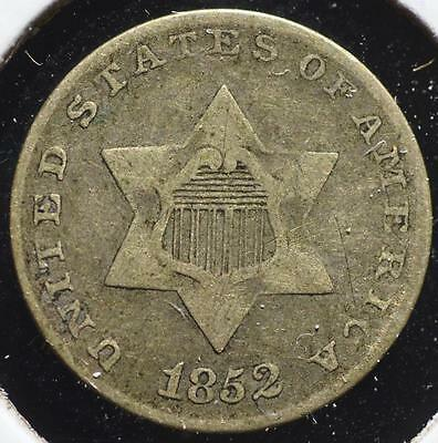 1852 Silver Three Cent, FREE SHIPPING!!!!! 3CA62