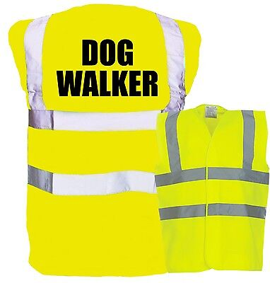 Dog Walker Printed Yellow Enhanced Safety Vest High Vis Waistcoat Hi Viz Walking