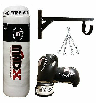 MADX Kids 2.5ft Boxing Set Filled Punch Bag Gloves,Chain,Bracket,Kickbag