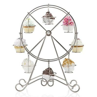 8-Cup Stainless Rotating Ferris Wheel Cupcake Party Stand Muffin Holder