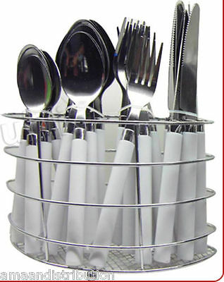 24Pc Cutlery Dinner Set Drainer Stand Forks Teaspoons Tea Spoons - New