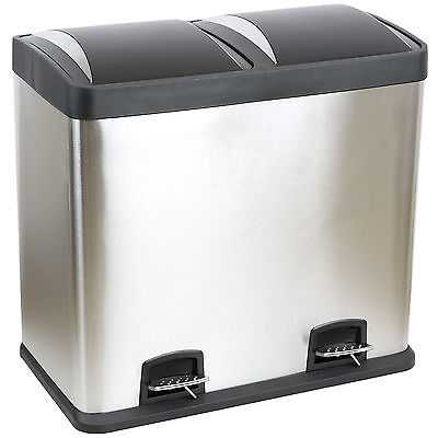 Double Recycling Pedal Bin Twin Compartment 48L Rubbish/waste 48 Litre Stainless