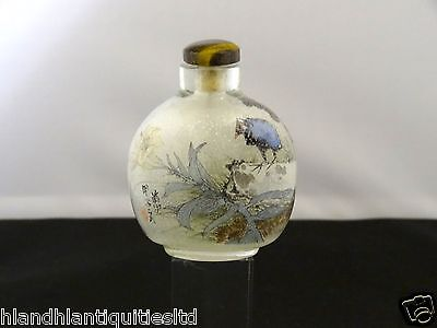 Antique Chinese Painted Glass Snuff Bottle, Scenes Of Birds Perched,19th Century