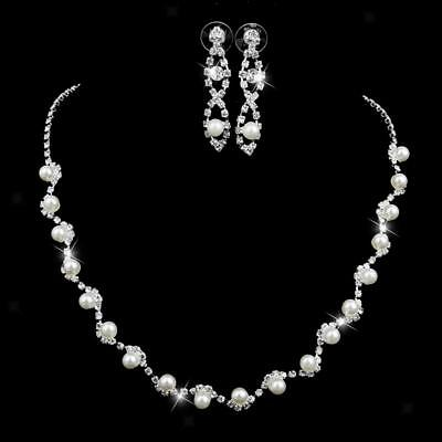 White Pearl Bridal Wedding Jewelry Set Necklace Earring Crystal Rhinestone