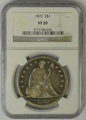 1872 Seated Liberty Silver Dollar, NGC VF 20