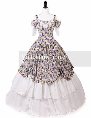 Victorian Belle Princess Civil War Dress Floral Ball Gown Theater Clothing 171