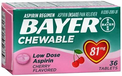 Bayer Chewable Low Dose 'Baby' Aspirin 81 mg Tablets Cherry 36 Tablets (6 pack)