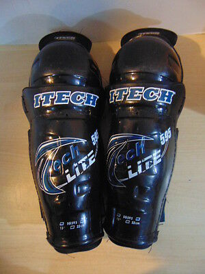 Hockey Shin Pads Childrens Size  13 inches Youth Itech Lite Black