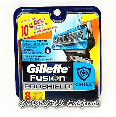 Gillette Fusion PROSHIELD CHILL Refill 8 Cartridges*Original Package* #010B