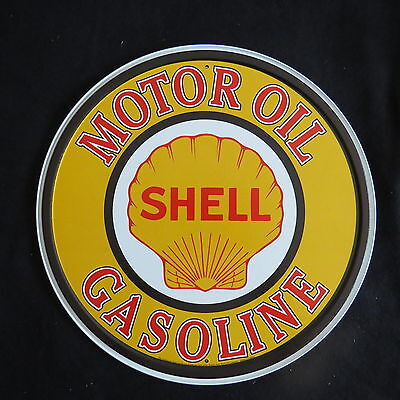 Shell Gas & Oil  -30 cm Round-Retro Rustic Metal Tin Sign Man cave